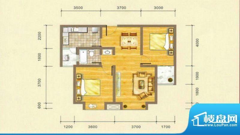 凯江盛世B4户型图 2面积:85.87平米