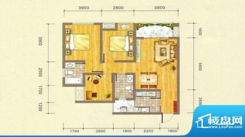 凯江盛世B3户型图 3面积:100.36平米