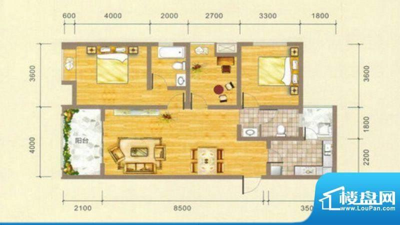 凯江盛世B1户型图 3面积:120.23平米