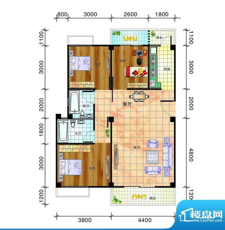 畔山庭院A 户型图- 面积:95.02平米