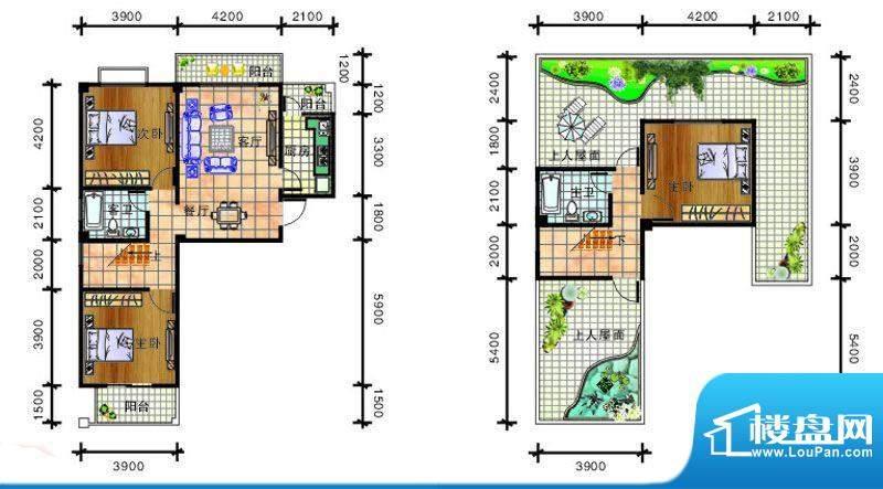 畔山庭院B1户型图 3面积:137.20平米