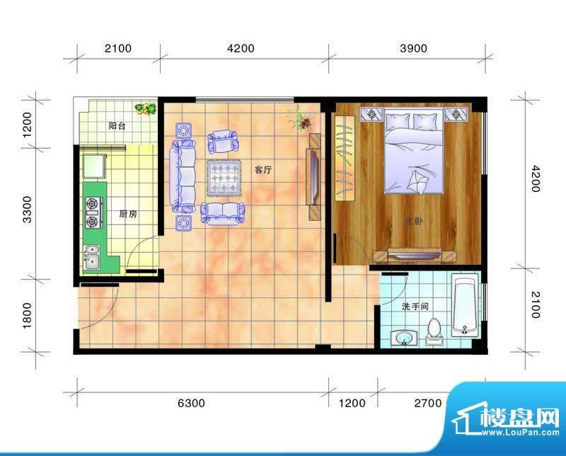 畔山庭院B2户型图 1面积:68.00平米