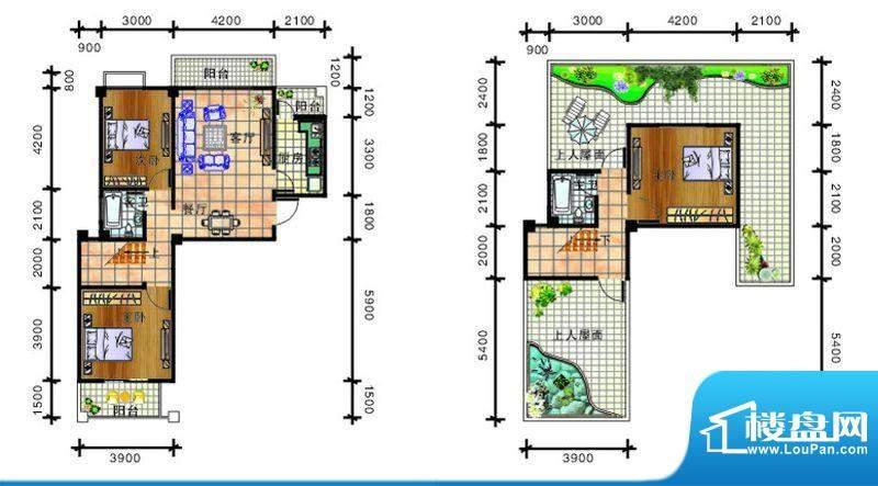畔山庭院B5户型图 3面积:130.95平米