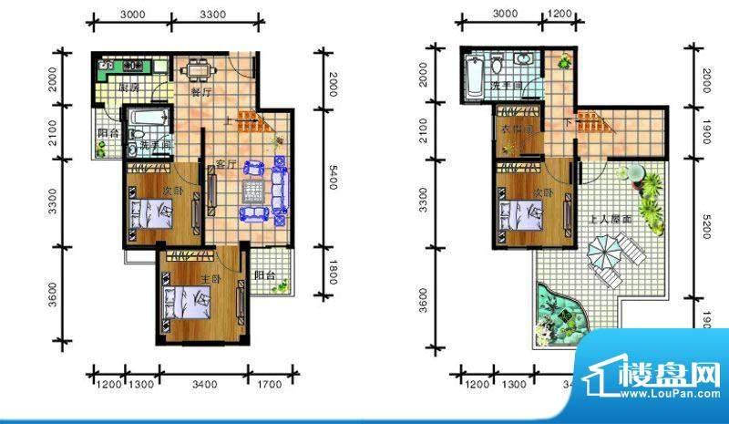 畔山庭院C1 户型图 面积:104.13平米