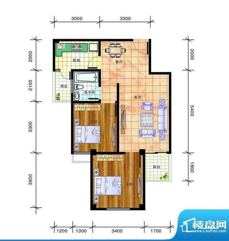 畔山庭院C户型图 2室面积:70.89平米