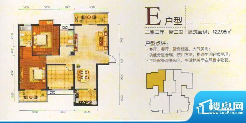 金东华府E户型面积:122.98m平米