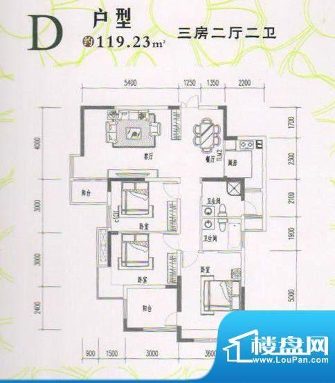 隆盛华府D户型 3室2面积:119.23m平米