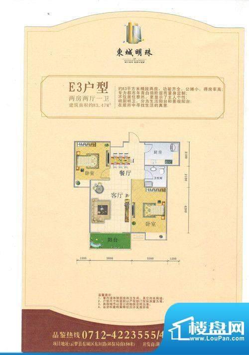 东城明珠E3户型 2室面积:83.47m平米