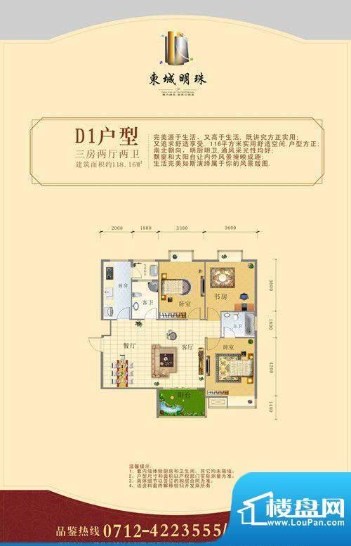 东城明珠D1户型 3室面积:118.16m平米