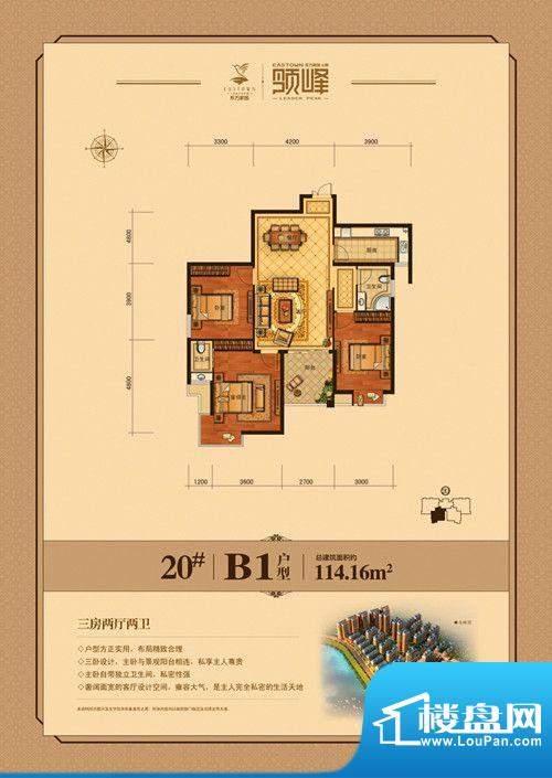 东方家园20#/B1户型面积:114.16m平米