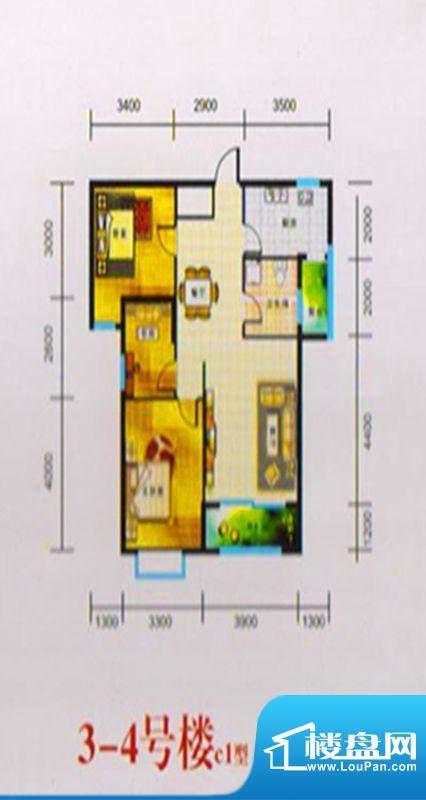 三湖名城3-4号楼C1户面积:92.00m平米