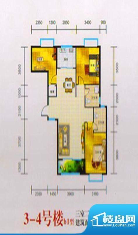 三湖名城3-4号楼B1户面积:110.00m平米