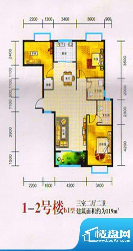 三湖名城1-2号楼B1户面积:119.00m平米