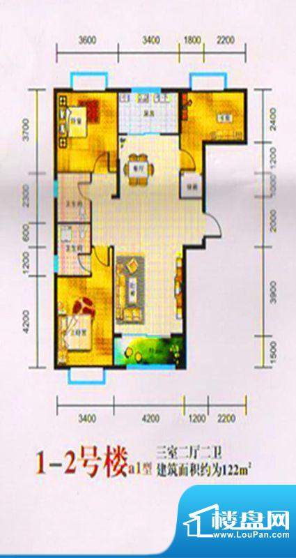 三湖名城1-2号楼A1户面积:122.00m平米