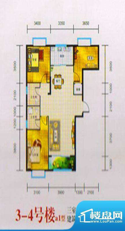 三湖名城3-4号楼A1户面积:114.00m平米