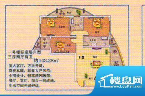 阳光·嘉园B户型 3室面积:143.28m平米