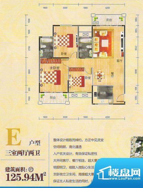 帝景豪庭E户型面积:125.94m平米