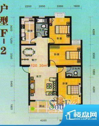 金张湾花园F 3室2厅面积:120.00m平米