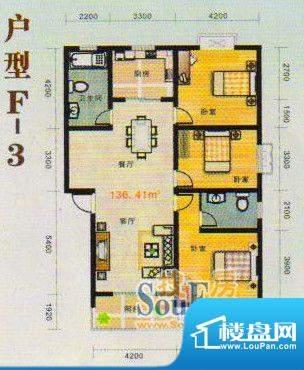 金张湾花园F 3室2厅面积:136.00m平米