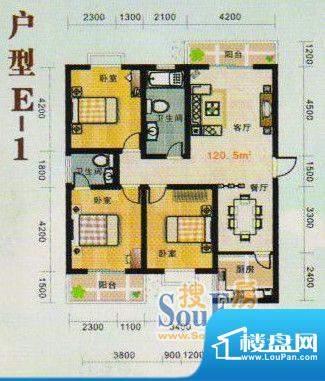 金张湾花园E 3室2厅面积:120.00m平米