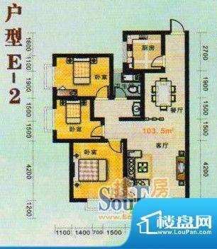 金张湾花园E 3室2厅面积:103.00m平米