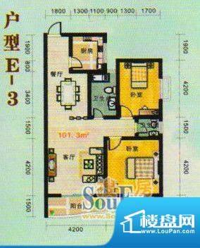 金张湾花园E 2室2厅面积:101.00m平米