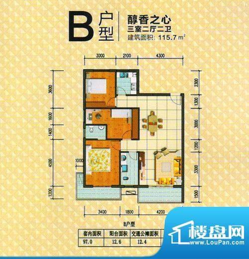 金奥大厦B户型 3室2面积:115.70m平米