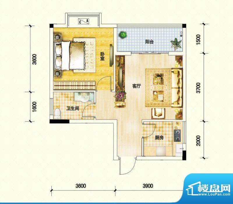 鑫瑞名居A户型 1室1面积:54.18m平米