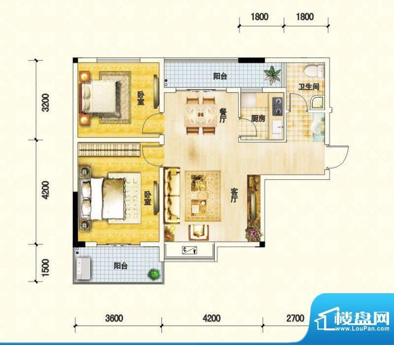 鑫瑞名居B户型 2室2面积:84.69m平米