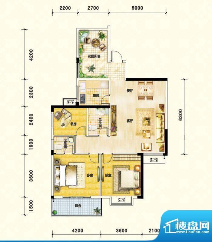 鑫瑞名居C户型 3室2面积:113.02m平米