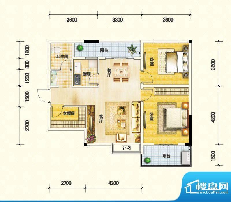 鑫瑞名居D户型 2室2面积:89.19m平米