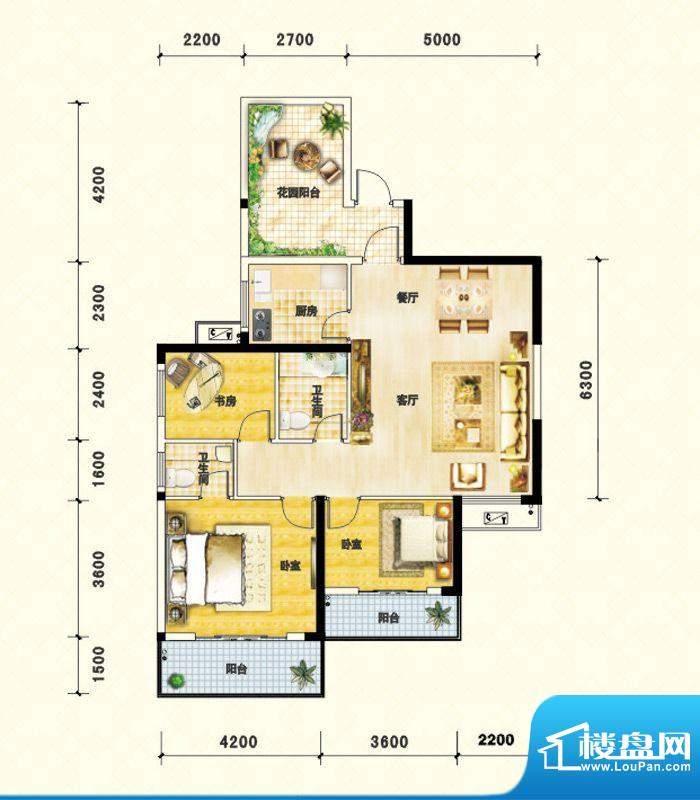 鑫瑞名居D户型 3室2面积:113.95m平米