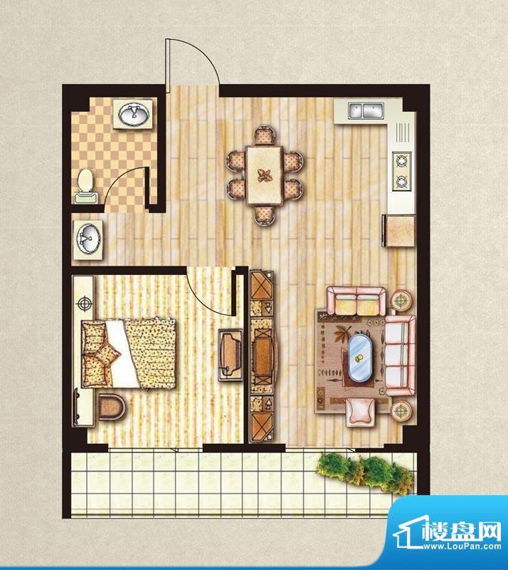 昊城景都L户型 1室2面积:63.00m平米