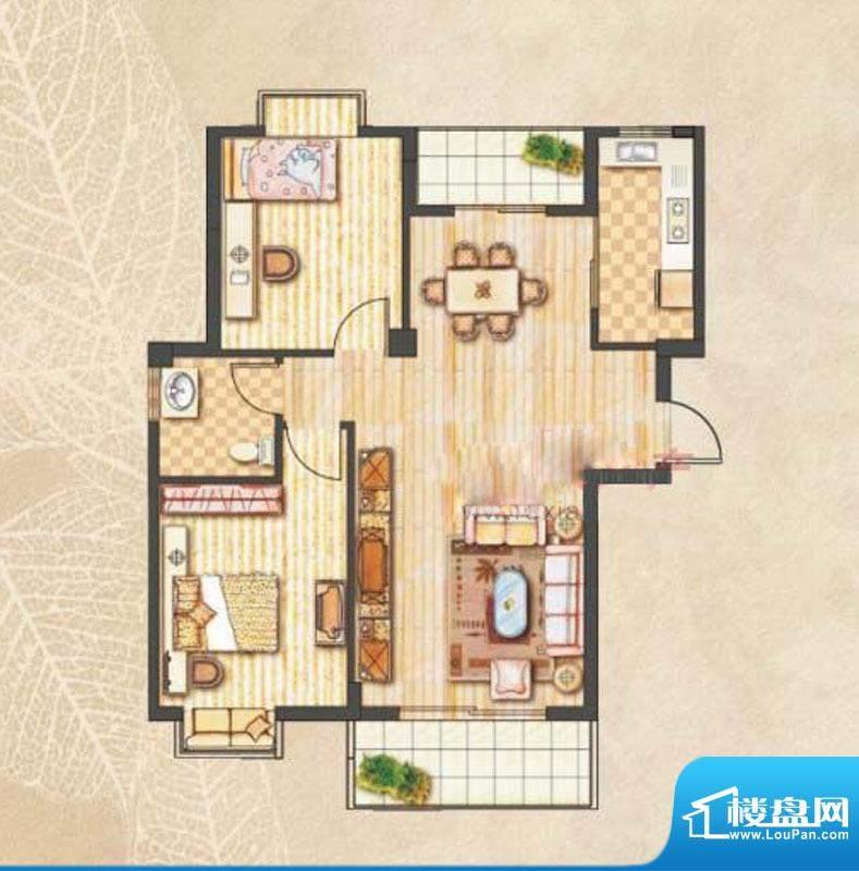 昊城景都A户型 2室2面积:99.00m平米