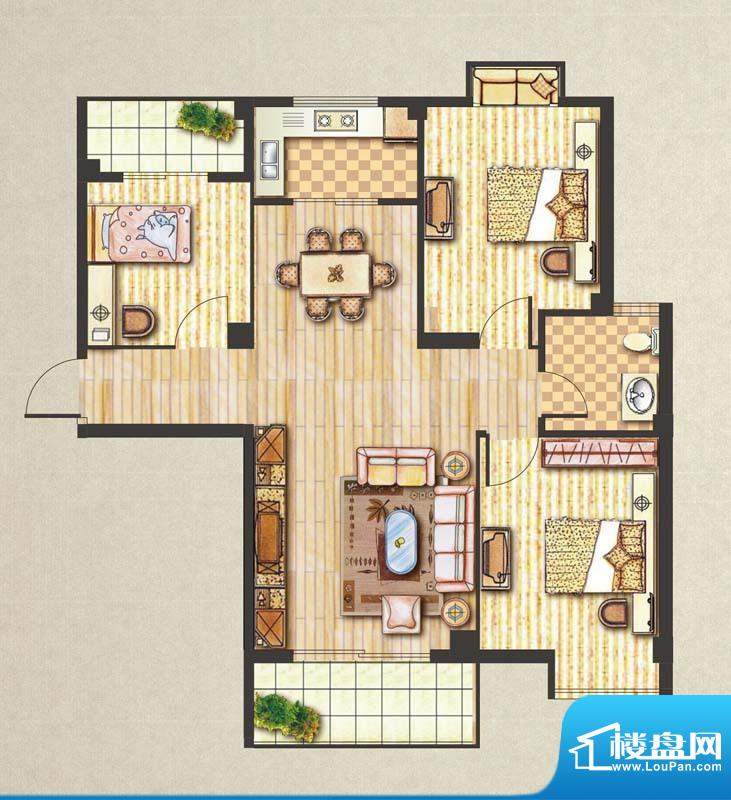 昊城景都B户型 3室2面积:109.00m平米