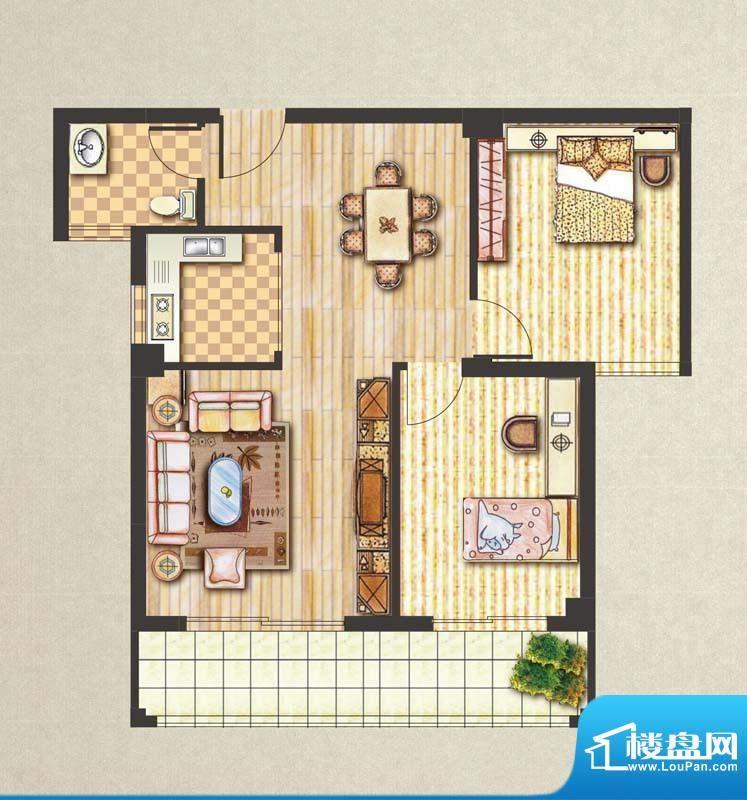 昊城景都C户型 2室2面积:88.00m平米