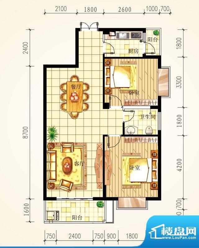 城市星座两房户型图面积:95.45m平米