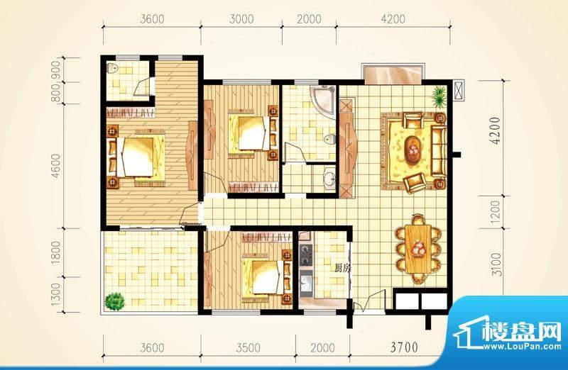 城市星座三房户型图面积:125.88m平米