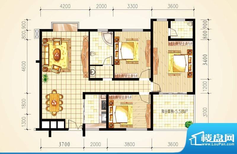 城市星座三房户型图面积:128.29m平米