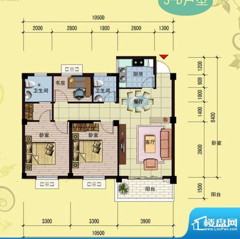 御景天成5-D户型 3室面积:99.11m平米