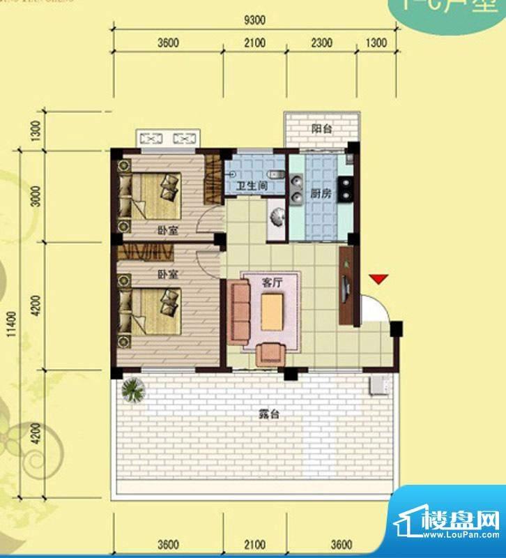 御景天成1-C户型 2室面积:75.23m平米