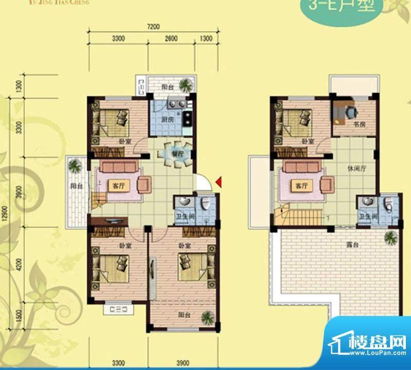 御景天成3-E户型 5室面积:150.99m平米