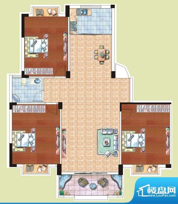 光谷桂花城7栋G户型面积:122.29m平米