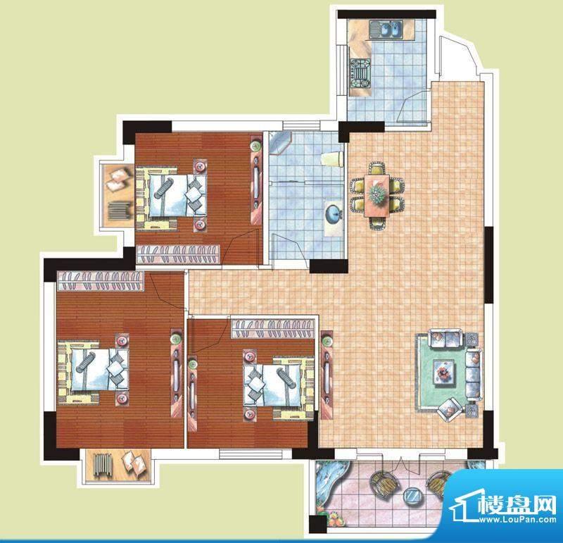 光谷桂花城9栋H户型面积:104.35m平米
