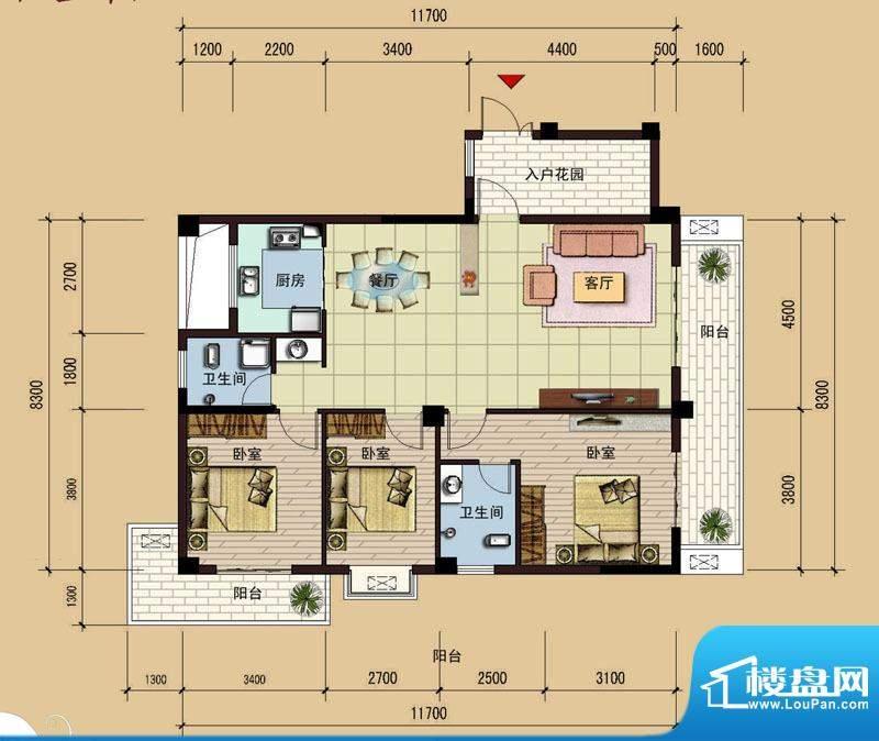 祥达锦苑10#户型图 面积:133.21m平米