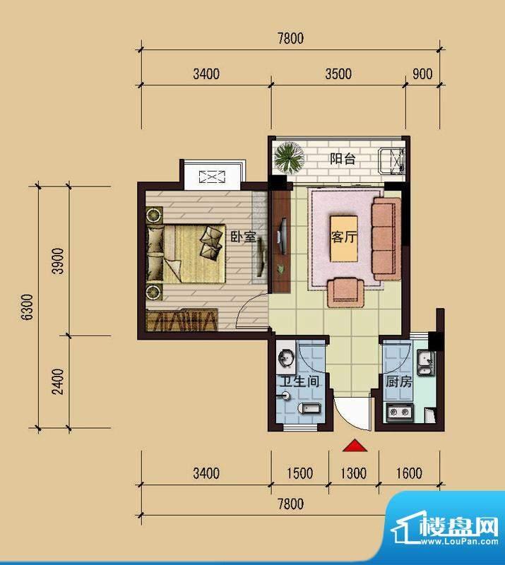 祥达锦苑9-9-09户型面积:48.25m平米