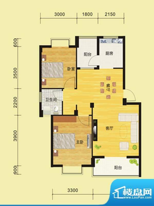 景泰嘉园一期C户型图面积:80.50m平米