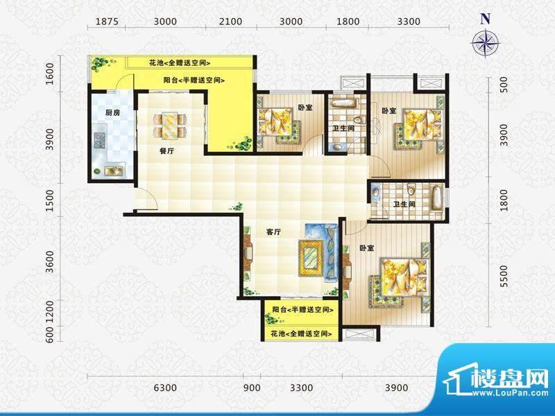 比克橄榄湾A户型 3室面积:150.00m平米