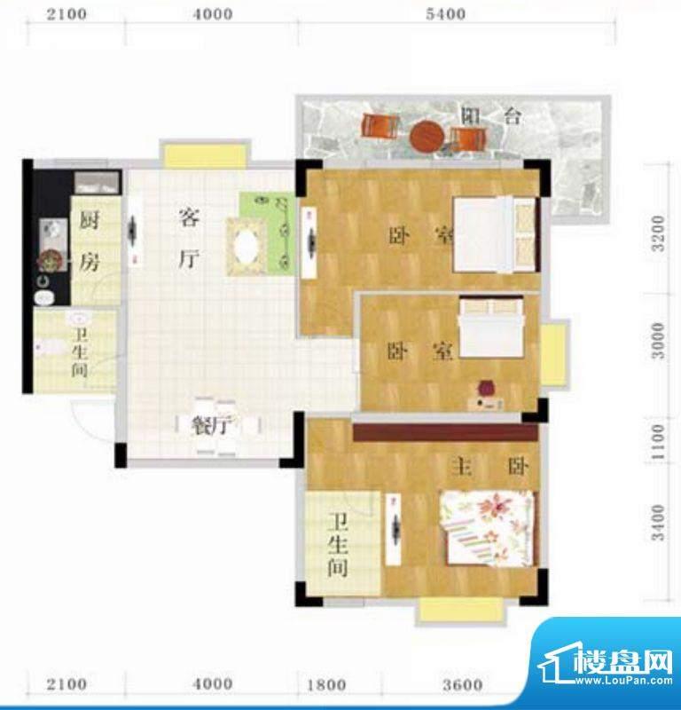 金地华府4-A户型 3室面积:124.00m平米