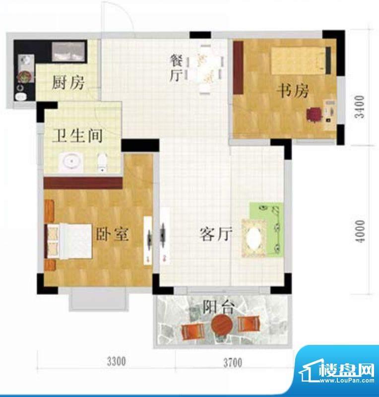 金地华府3-D户型 2室面积:75.80m平米